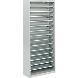 Estantería almacén, 1690mm de alto, 14 estantes, sin cajas, gris luminoso