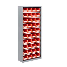 Estantería almacén, 1690mm de alto, 9 estantes, 40 cajas, gris luminoso