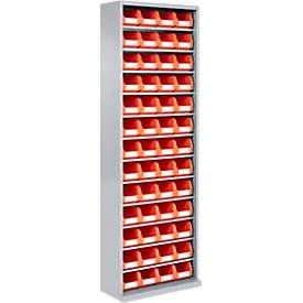 Estantería almacén, 1980mm de alto, 12 estantes, 52 cajas, gris luminoso