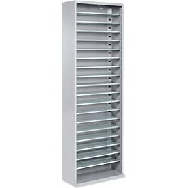 Estantería almacén, 1980mm de alto, 18 estantes, sin cajas, gris luminoso
