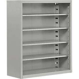 Estantería almacén, 830mm de alto, 4 estantes, sin cajas, aluminio blanco