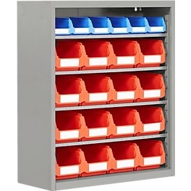 Estantería almacén, 830mm de alto, 6 estantes, 22 cajas, aluminio blanco