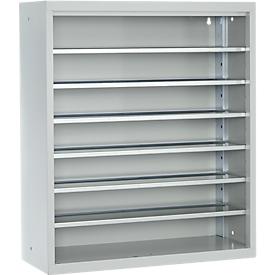 Estantería almacén, 830mm de alto, 6 estantes, sin cajas, gris luminoso