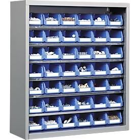 Estantería almacén, 830mm de alto, con 6 estantes, incl. 42 cajas, plateado claro
