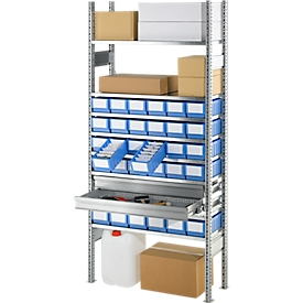 Estantería base R 3000, estantería completa 1,055m, módulo base con estantes, cajones y cajas de estantería