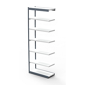 Estantería de acero PROGRESS 2000, módulo de estantería, sin pared trasera, Al 2600 x An 750 x P 300mm, marco plateado