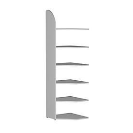 Estantería de oficina Dante®, módulo de estantería esquinera, Al 2250 x An 600mm, sin pared trasera, gris luminoso