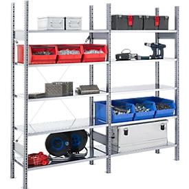 Estantería ensamblable FBR 2200, estantería completa 2,08m, 1 módulo base y 1 módulo adicional incl. 10 estantes, Al 2013 x An 2080 x P 600mm