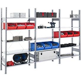 Estantería ensamblable FBR 2200, estantería completa 2,08m, 1 módulo base y 2 módulos adicionales incl. 15 estantes