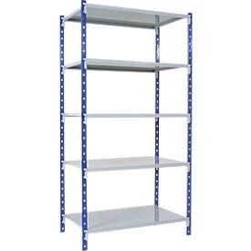 Estantería ensamblable universal, módulo base, 5 estantes de chapa de acero, capacidad de carga 125kg, An 1000 x Al 2000 x P 300mm