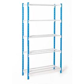 Estantería ensamblable universal, módulo base, 5 estantes de rejilla, carga por estante 122kg, An 1250 x Al 2000 x P 300mm