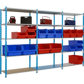 Estantería ensamblable universal, módulo base, 5 estantes de rejilla, carga por estante 170kg, An 1000 x Al 2000 x P 300mm