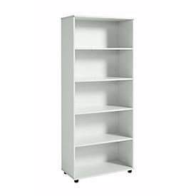 Estantería, madera, 4 estantes, 5 AA, An 800 x P 400 x Al 1877mm, gris luminoso