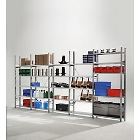 Estantería modular R3000, An 5155 x Al 2278mm, Estantería base/adicional, 25 estantes galvanizados, profundidad 300mm