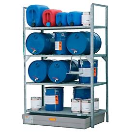 Estantería para barriles tipo 540 CEMO, con cubeta colectora de PRFV y apoyo para barriles, peso 82kg, L 1320 x An 800 x Al 2000mm