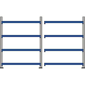 Estantería para grandes cargas WR 600, estantería completa 3,6m, 4 niveles, 1 módulo base y 1 módulo adicional incl. 8 tableros aglomerados