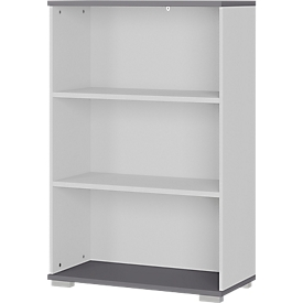 Estantería Profi 2.0, madera, 3 HC, 2 estantes, 4 pies de plástico, ancho 800 x fondo 400 x alto 1230 mm, gris claro/grafito