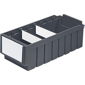 Estantería RK 621, polipropileno, L 590 x A 162 x H 115 mm, 12 compartimentos, 2 separadores, para profundidad de armario 600 mm, gris hierro, plástico reciclado, juego de 10 piezas