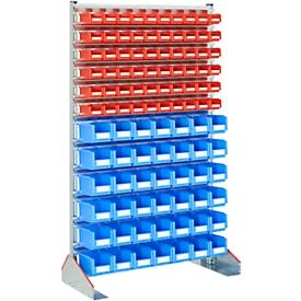 Estantería soporte unilateral, An 1130 x P 500 x Al 1885mm, 60 x 0,7l, rojo + 42 x 3l,  azul
