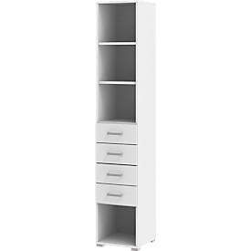 Estantería TEQSTYLE, 6 AA, 4 cajones, 2 estantes, An 400 x P 419 x Al 2185mm, blanco/blanco