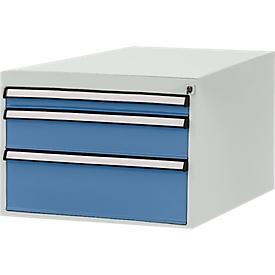 Estructura inferior de cajones Manuflex, para P 800mm, gris luminoso/azul brillante