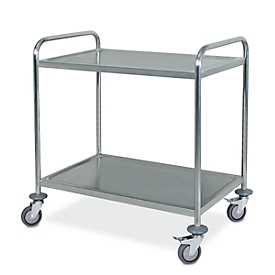 Etagewagen, roestvrij staal,2 etages, L 860 x B 540 mm, , voedselveilig, draagvermogen tot 200 kg