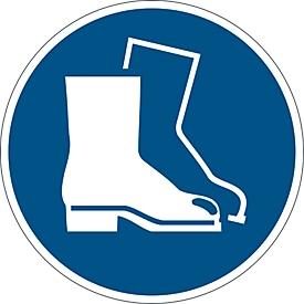 Etiqueta de seguridad Durable 1 ud., autoadherente, motivo «Uso obligatorio de calzado de seguridad»