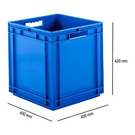 Euro Box Serie EF 4440, aus PP, Inhalt 53,9 L, geschlossene Wände, Durchfassgriff, blau