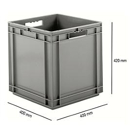 Euro Box Serie EF 4440, aus PP, Inhalt 53,9 L, geschlossene Wände, Durchfassgriff, grau