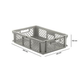 Euro Box Serie EF 6151, aus PP, Inhalt 29,4 L, durchbrochene Wände, grau, Durchfassgriff