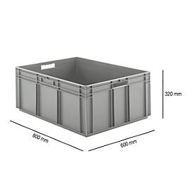 Euro Box Serie EF 8320, aus PP, Inhalt 122 L, geschlossene Wände, grau, Durchfassgriff