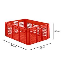 Euro Box Serie EF 8321, aus PP, Inhalt 122 L, durchbrochene Wände, rot, Durchfassgriff