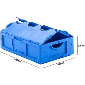Euro Box Serie LTB 6170, aus PP, Inhalt 30,7 L, mit Deckel, blau