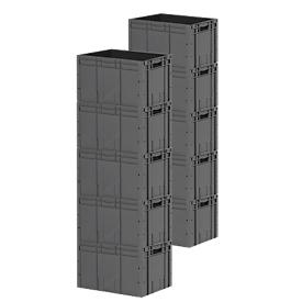 Euro Box Serie LTF 6320, aus PP, Inhalt 62,7 L, 10er Set, anthrazit