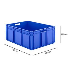 Eurobox serie EF 8320, van PP, inhoud 122 l, gesloten wanden, blauw, open handgreep