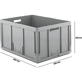 Eurobox serie LTB 8420-GL, van PP, inhoud 175 l, open handgreep, grijs