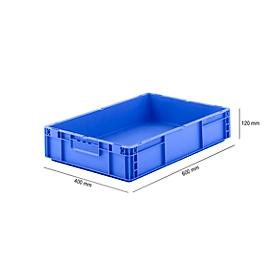 Eurobox serie MF 6120, van PP, inhoud 21 l, gesloten handgreep, blauw
