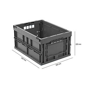 Euronorm plooibox 4322, zonder deksel, voor magazijngebruik en meervoudig transport,  inhoud 20,3 liter grijs