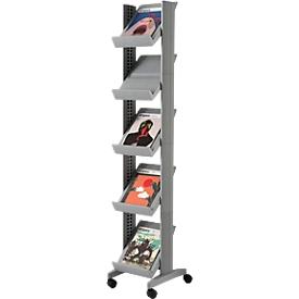 Expositor de folletos móvil CORNER, color aluminio