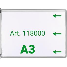 Expositor Tarifold DIN A3 apaisado, 10 piezas, todos los sistemas de soporte, pivote metálico, gris