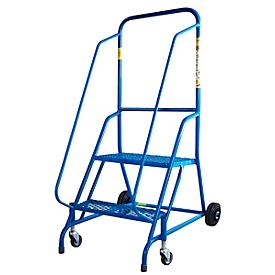 Fahrbare Stehleiter, blau, Stahlrahmen, 2 Lenkrollen und 2 Rollen, 2 Stufen aus Stahlgitter