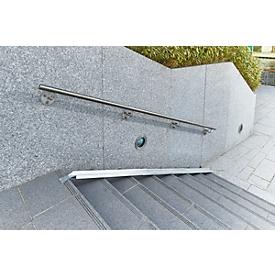 Fahrradrampe für Treppen, L 3130 x B 125 mm, bis 25 kg, 3-tlg. Grundelement, Befestigungslaschen, Blech verzinkt