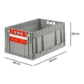 Faltkasten im EURO-Maß ECT 6285 GL 2SK, ohne Deckel, 55,8 l, grau