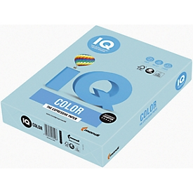 Farbiges Kopierpapier Mondi IQ Color Pastellfarbe, DIN A4, 80 g/m², mittelblau, 1 Paket = 500 Blatt
