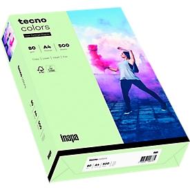 Farbiges Kopierpapier tecno colors, DIN A4, 80 g/m², hellgrün, 1 Paket = 500 Blatt