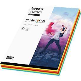 Farbiges Kopierpapier tecno colors, DIN A4, 80 g/m², intensiv, 5 x 20 Blatt farbsortiert, 1 Paket = 100 Blatt