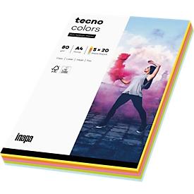 Farbiges Kopierpapier tecno colors, DIN A4, 80 g/m², pastell, 5 x 20 Blatt farbsortiert, 1 Paket = 100 Blatt