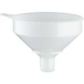 Fasstrichter, Ø 253 mm, 3,5 l, lebensmittelgeeignet, mit Sieb, Überlaufrand & Öse, Polyethylen HD-PE, naturfarben