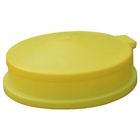 Fasstrichter mit Klappdeckel, für 205 l Fässer, Ø 610 mm, integriertes Abfallsieb, PE, gelb