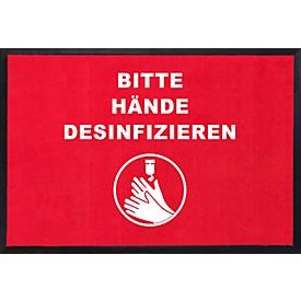 Felpudo Por favor, desinfectarse las manos, rectangular, resistente al aceite y antiestático, poliamida, L 900 x An 600mm, rojo/blanco/negro